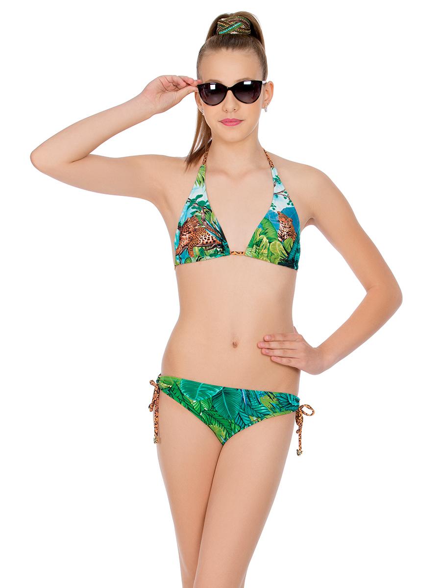 Купальник раздельный для девочки Arina Nirey, цвет: зеленый. YM 041802. Размер 36 (42)YM 041802Модный раздельный купальникот Arina Nirey для девочек подросткового возраста. Бюст – мягкие подвижные треугольники со съемными плавающими корректорами. Фиксируется на теле при помощи завязок спагетти на шее и между чашек. Плавки комфортной посадки с оригинальными шнурками-спагетти, собранными в кольцо на передних деталях, регулируют высоту бока. Завязки оформлены металлическими подвесками львов, что придает изделию законченность. Матовая лайкра идеально передает красоту живописного принта Тропики.