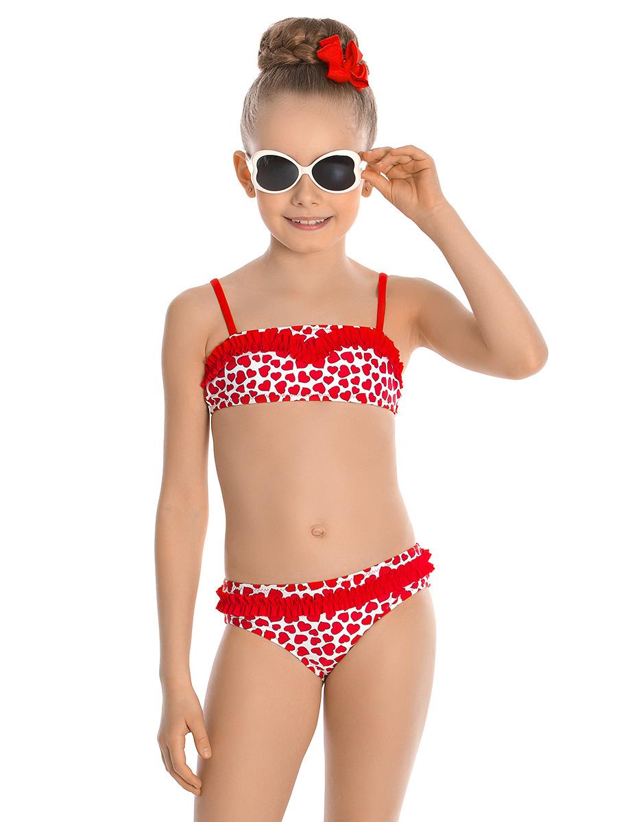 Купальник раздельный для девочки Arina Nirey, цвет: красный, белый. GB 051803. Размер 140/146 купальник раздельный для девочки arina nirey цвет разноцветный gm 061803 размер 152 158