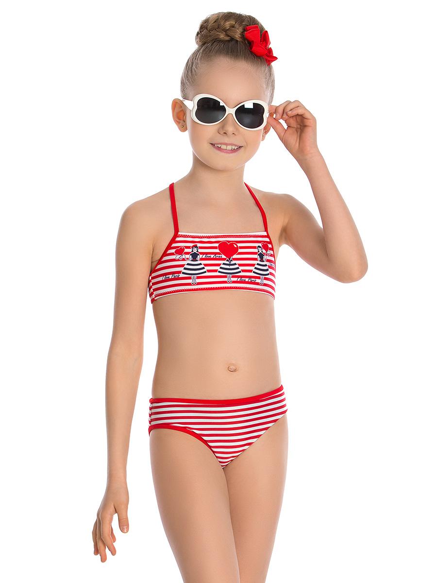 Купальник раздельный для девочки Arina Nirey, цвет: красный, белый. GR 051805. Размер 116/122 alpino розовый 12 150 гр