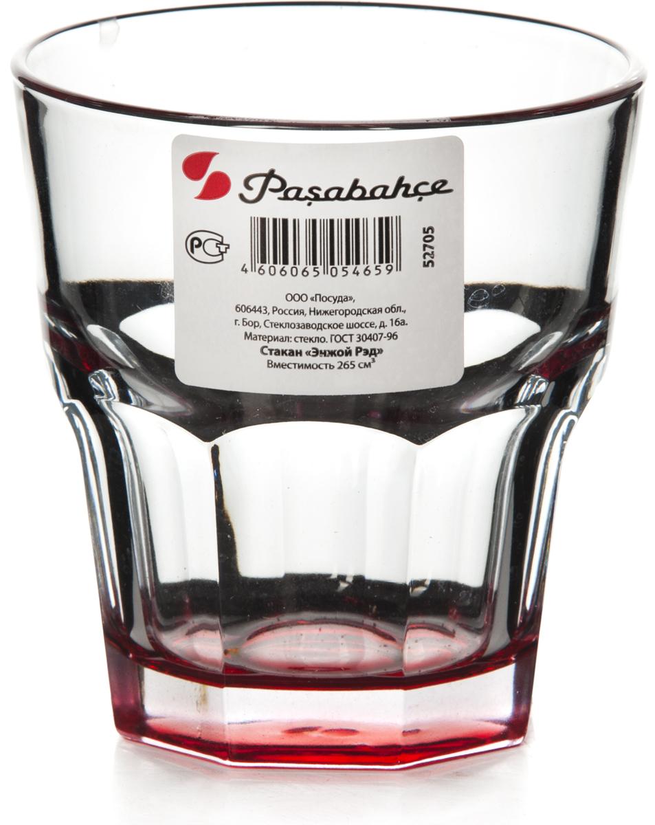 """Стакан Pasabahce """"Энжой Рэд"""" выполнен из силикатного стекла.  Стакан прозрачный. Дно стакана красного цвета.  Объем - 265 мл.  Высота стакана - 91 мм, диаметр - 85 мм."""