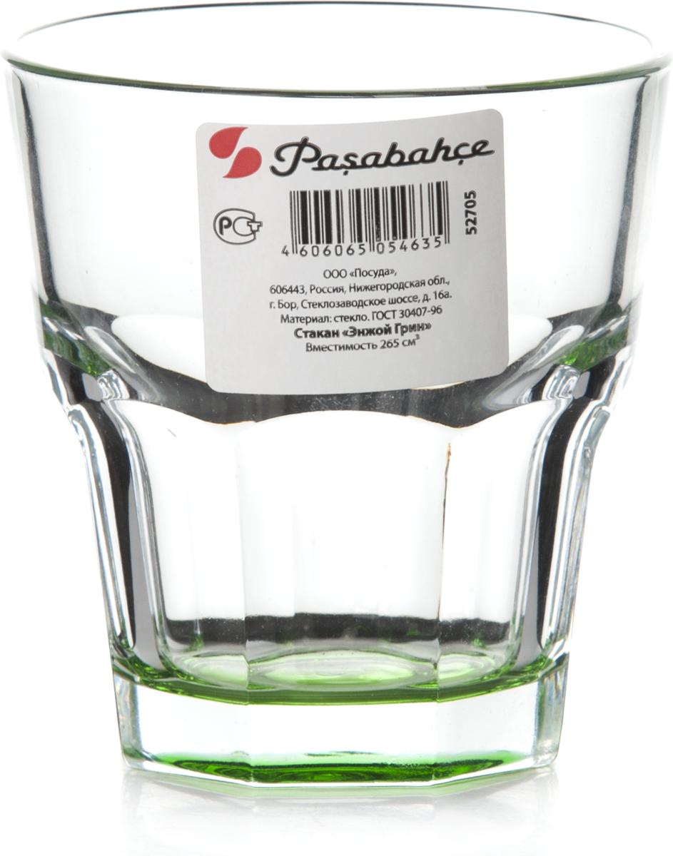 """Стакан Pasabahce """"Энжой Грин"""" выполнен из силикатного стекла.  Стакан прозрачный. Дно стакана зеленого цвета.  Объем - 265 мл.  Высота стакана - 91 мм, диаметр - 85 мм."""