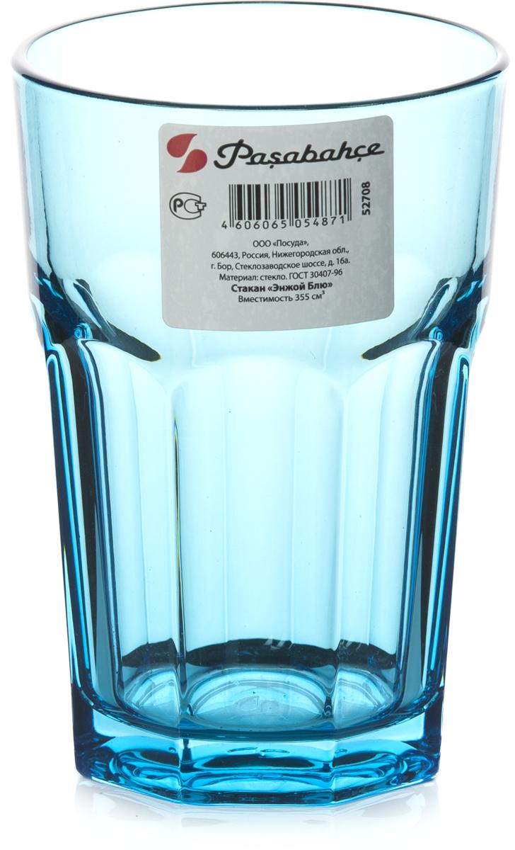 """Стакан Pasabahce """"Энжой Блю"""" выполнен из силикатного стекла.  Объем - 355 мл.  Высота стакана - 125 мм, диаметр - 85 мм."""
