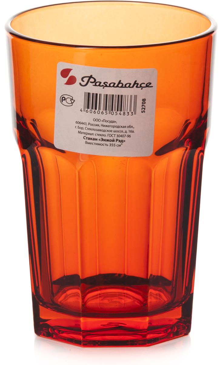 """Стакан Pasabahce """"Энжой Рэд"""" выполнен из силикатного стекла.  Объем - 355 мл.  Высота стакана - 125 мм, диаметр - 85 мм."""