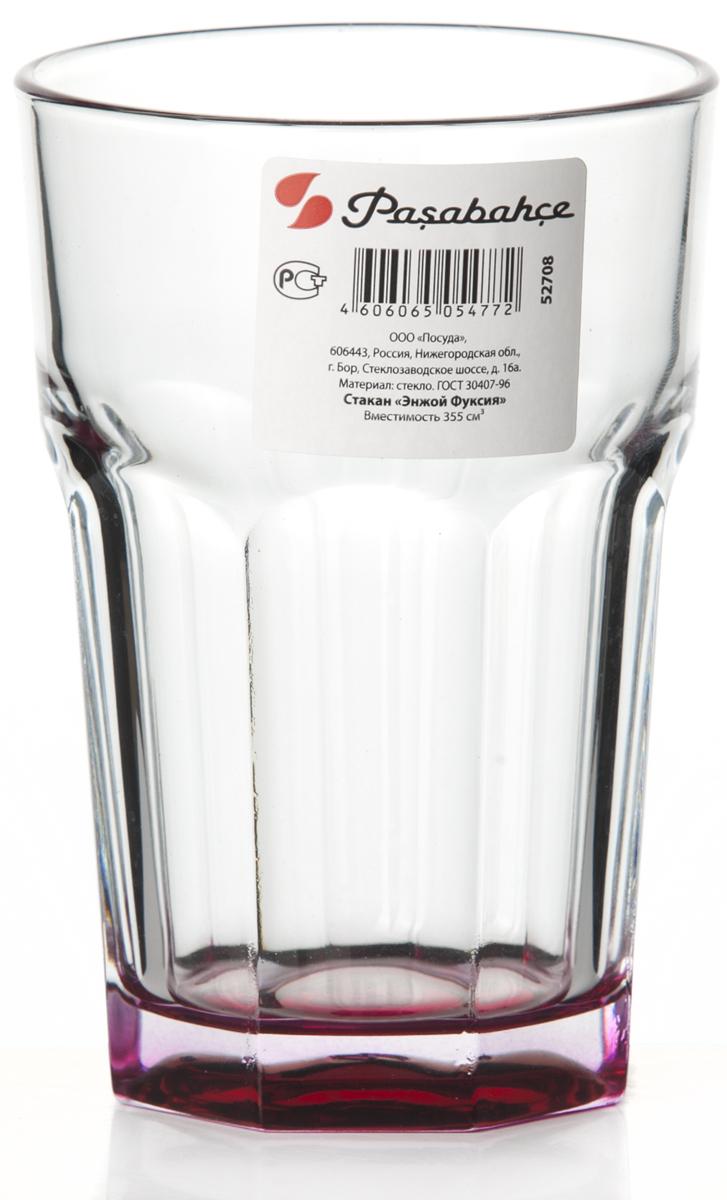 Стакан Pasabahce Энжой Фуксия, 355 мл. 52708SLBD952708SLBD9Стакан Pasabahce Энжой Фуксия выполнен из силикатного стекла.Стакан прозрачный. Дно стакана цветное.Объем - 355 мл.Высота стакана - 125 мм, диаметр - 85 мм.