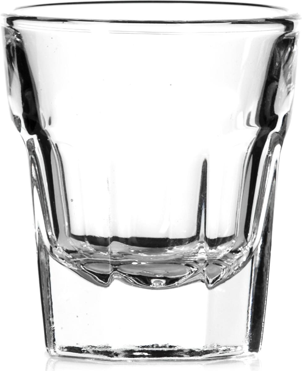"""Стакан Pasabahce """"Касабланка"""" выполнен из силикатного стекла.  Стакан прозрачный. Объем - 36 мл.  Высота стакана - 55 мм, диаметр - 50 мм."""