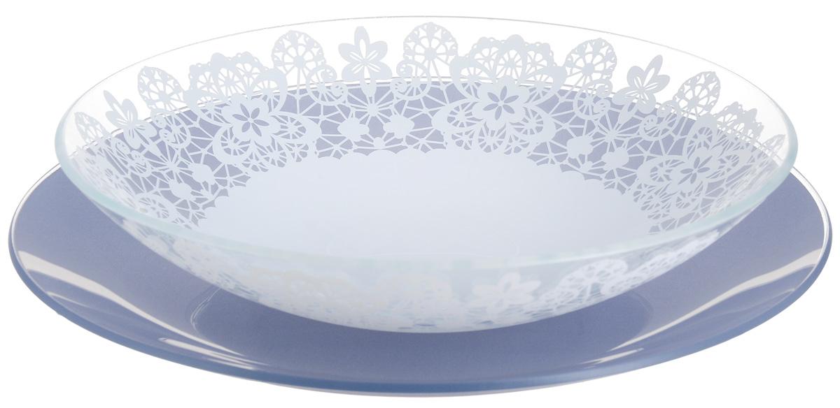 Набор тарелок глубокая NiNaGlass, цвет: голубой, диаметр 25 см, 2 шт. 85-225-142пс85-225-142псНабор тарелок NiNaGlass Кружево и Палитра выполнена из высококачественного стекла, декорирована под Вологодское кружево и подстановочная тарелка яркий насыщенный цвет. Набор идеален для подачи горячих блюд, сервировки праздничного стола, нарезок, салатов, овощей и фруктов. Он отлично подойдет как для повседневных, так и для торжественных случаев. Такой набор прекрасно впишется в интерьер вашей кухни и станет достойным дополнением к кухонному инвентарю.