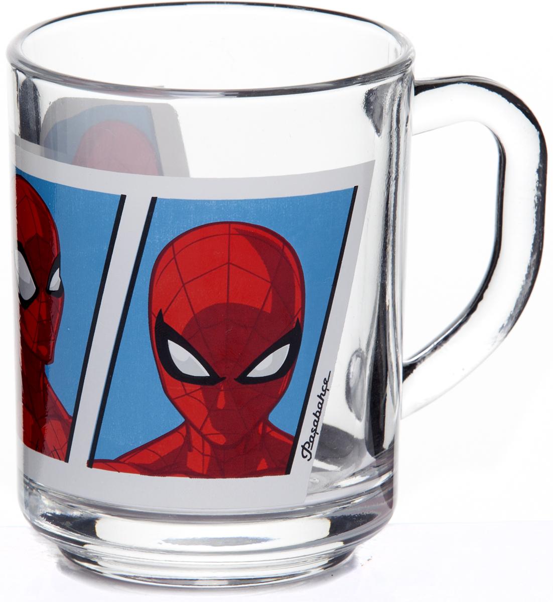 """Детская кружка Pasabahce """"Человек-Паук"""" изготовлена из прозрачного стекла и украшена красивым рисунком. Изделие идеально подходит для сервировки стола. Кружка не только украсит ваш кухонный стол, но и понравится вашему ребенку."""
