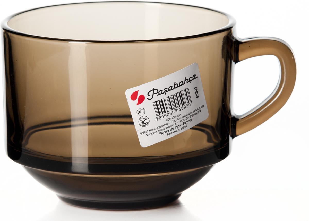 Бульонница Pasabahce Броунз, 625 мл55303SLBZTБульонница Pasabahce Броунз изготовлена из высококачественного закаленного стеклаи оснащена эргономичной ручкой. Такая бульонница подойдет не только для супа, но и для чая или кофе.Такая бульонница дополнит коллекцию кухонной посуды и будет служить долгие годы.Диаметр бульонницы (по верхнему краю): 11,5 см. Высота бульонницы: 9 см.