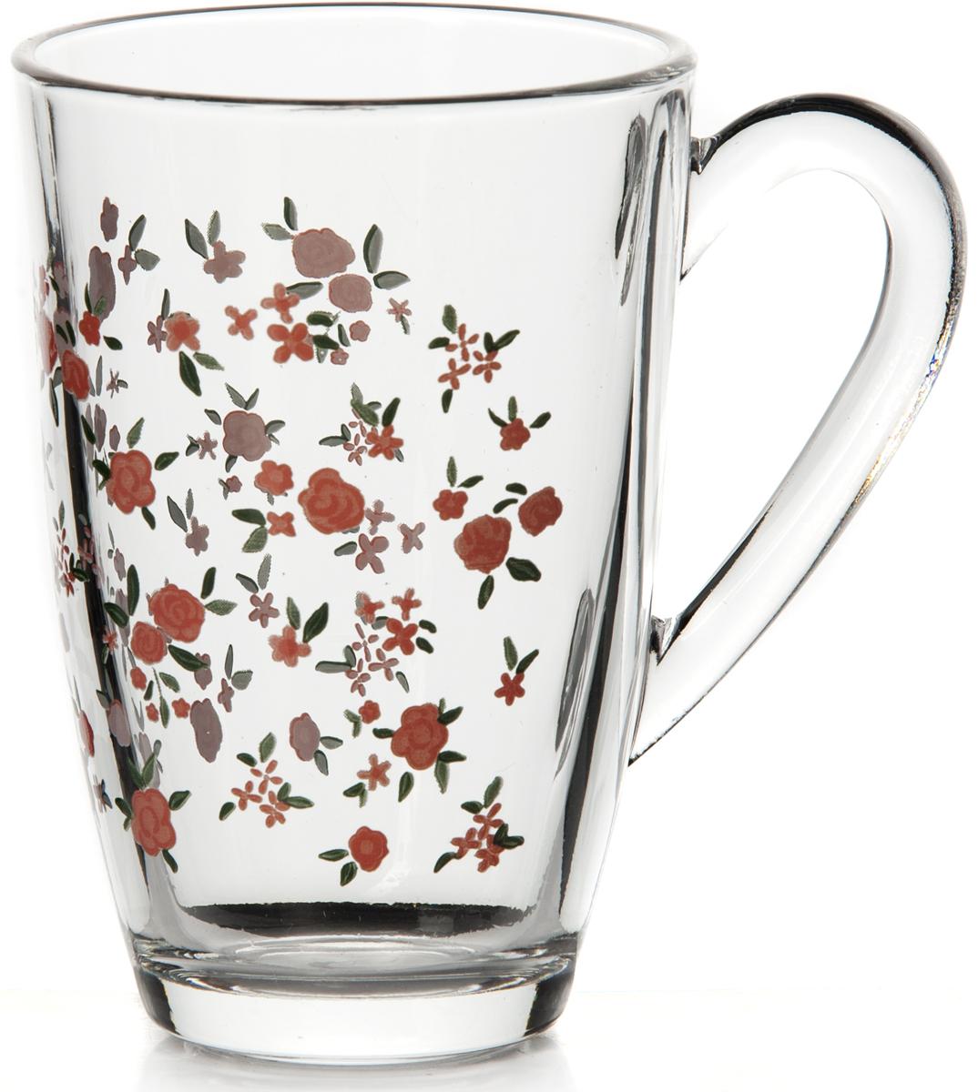 Кружка Pasabahce Прованс, 325 мл55393SLBSКружка прозрачная с декором - красные цветы, V-330 мл, h-120 мм, d-80 мм