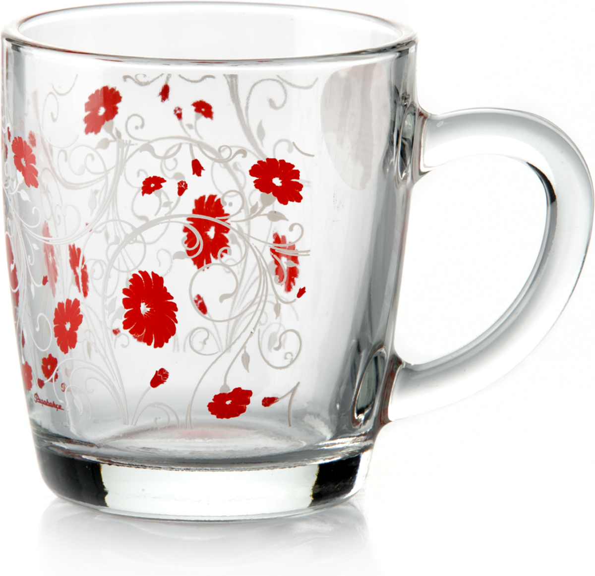 """Кружка Pasabahce """"Рэд Серенейд"""" изготовлена из прозрачного стекла и украшена рисунком. Изделие идеально подходит для сервировки стола.Кружка украсит ваш кухонный стол."""