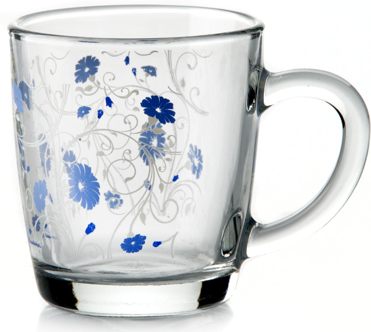 Кружка Pasabahce Serenade, цвет: голубой, прозрачный, 340 мл55531SLBD15Кружка Pasabahce Serenade изготовлена из прозрачного стекла и украшена красивым рисунком. Изделие идеально подходит для сервировки стола.Кружка не только украсит ваш кухонный стол, но и подчеркнет прекрасный вкус хозяйки.