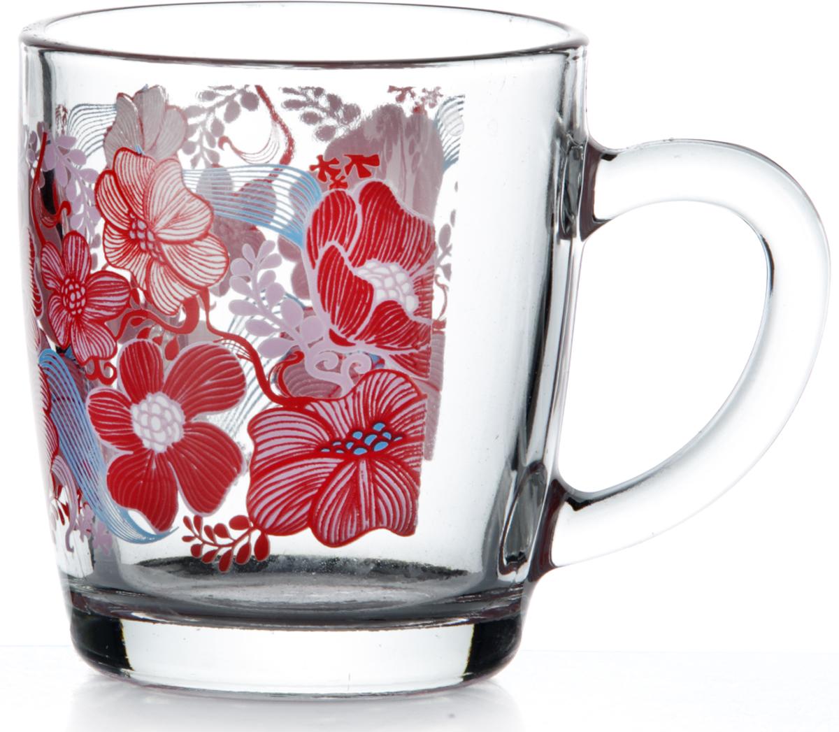 """Кружка Pasabahce """"Серенейд Рэд Дрим"""" изготовлена из прозрачного стекла и украшена красивым рисунком. Изделие идеально подходит для сервировки стола."""