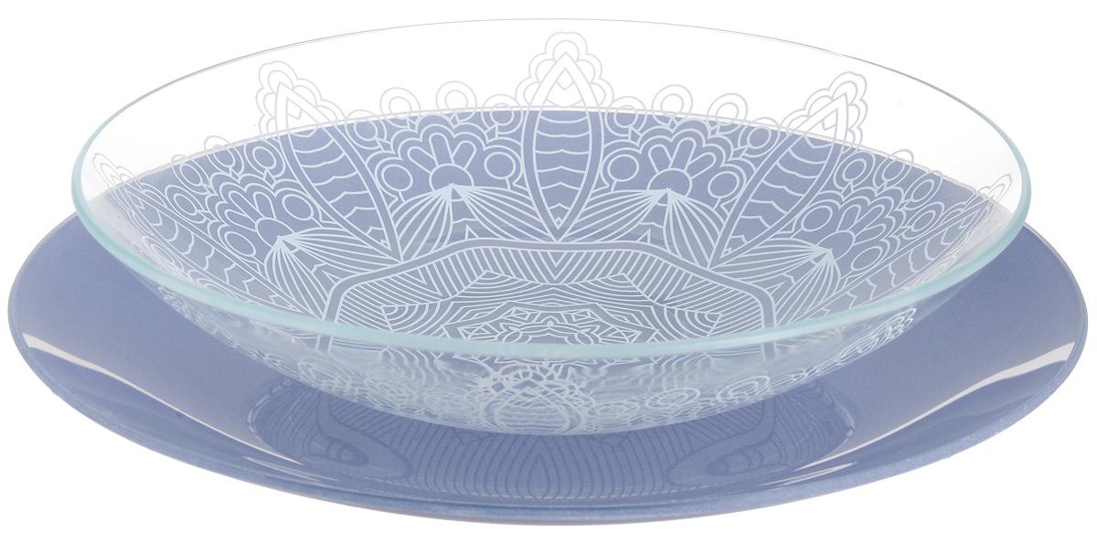 Набор тарелок глубокая NiNaGlass, цвет: голубой, диаметр 25 см, 2 шт85-225-149псНабор тарелок NiNaGlass Кружево и Палитра выполнена из высококачественного стекла, декорирована под Вологодское кружево и подстановочная тарелка яркий насыщенный цвет. Набор идеален для подачи горячих блюд, сервировки праздничного стола, нарезок, салатов, овощей и фруктов. Он отлично подойдет как для повседневных, так и для торжественных случаев. Такой набор прекрасно впишется в интерьер вашей кухни и станет достойным дополнением к кухонному инвентарю.