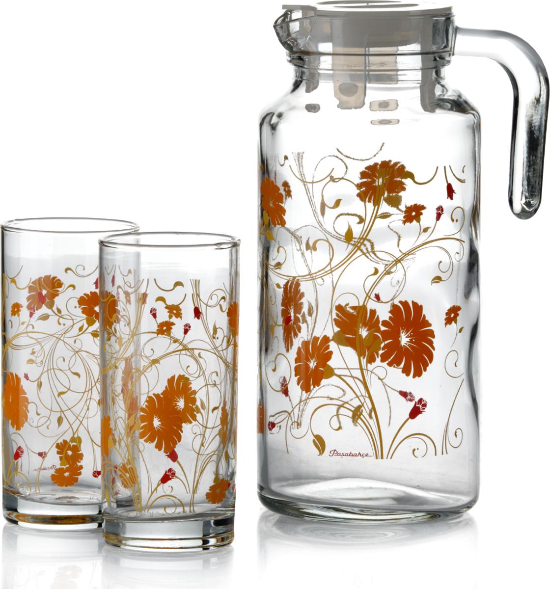 Набор питьевой Pasabahce Serenada, цвет: прозрачный, оранжевый, 5 предметов95895BD1Питьевой набор Pasabahce Serenada состоит из 4 стаканов и кувшина. Изделия выполнены из высококачественного прочного стекла и декорированыцветочным рисунком. Набор прекрасно подходит для сока, воды, лимонада и других напитков. Изделия устойчивы к повреждениям и истиранию, в процессе эксплуатации не впитывают запахии сохраняют первоначальные краски. Можно мыть в посудомоечной машине.Объем кувшина: 1,3 л.Высота кувшина; 25 см. Объем стакана: 300 мл.Высота стакана: 13 см.