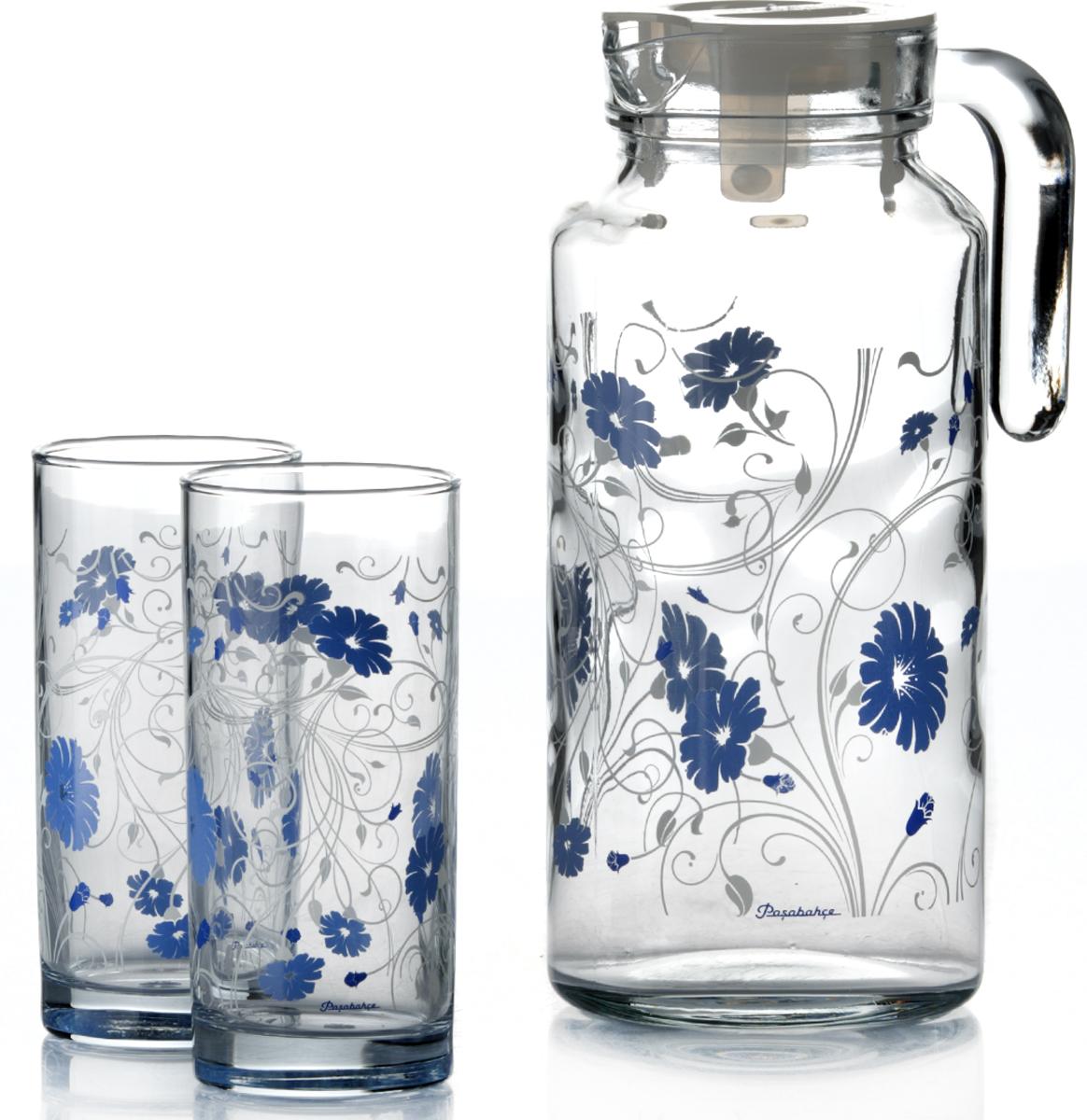 Набор питьевой Pasabahce Serenada, цвет: прозрачный, синий, 5 предметов95895BD2Питьевой набор Pasabahce Serenada состоит из 4 стаканов и кувшина. Изделия выполнены из высококачественного прочного стекла и декорированыцветочным рисунком. Набор прекрасно подходит для сока, воды, лимонада и других напитков. Изделия устойчивы к повреждениям и истиранию, в процессе эксплуатации не впитывают запахии сохраняют первоначальные краски. Можно мыть в посудомоечной машине.Объем кувшина: 1,3 л.Высота кувшина; 25 см. Объем стакана: 300 мл.Высота стакана: 13 см.