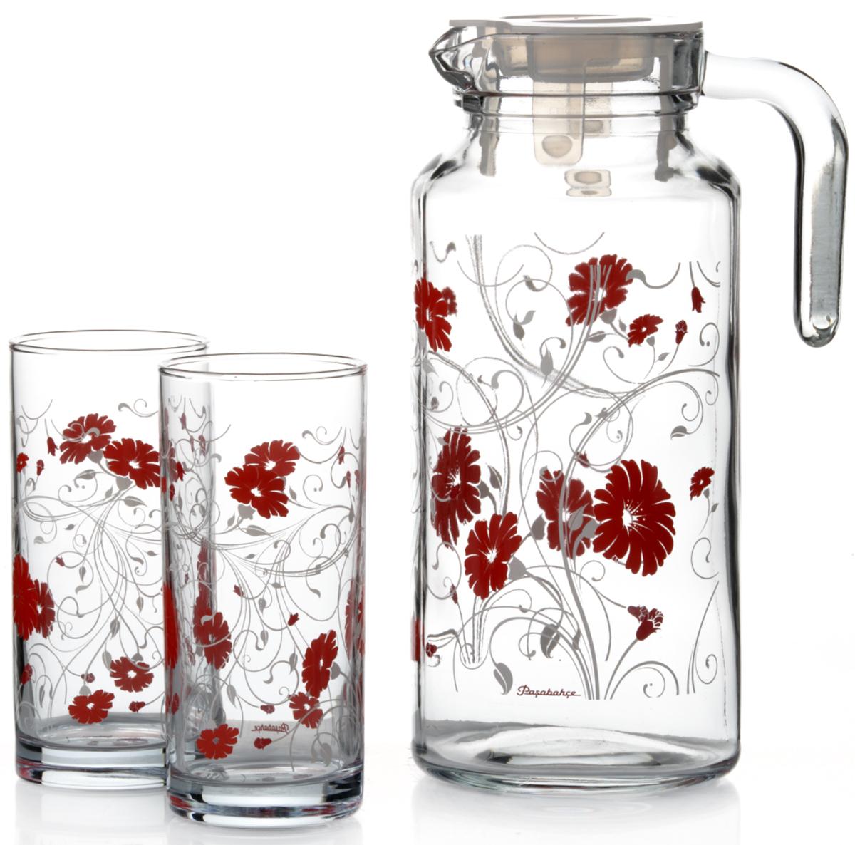 Набор питьевой Pasabahce Serenada, цвет: прозрачный, красный, 5 предметов95895BD3Питьевой набор Pasabahce Serenada состоит из 4 стаканов и кувшина. Изделия выполнены из высококачественного прочного стекла и декорированыцветочным рисунком. Набор прекрасно подходит для сока, воды, лимонада и других напитков. Изделия устойчивы к повреждениям и истиранию, в процессе эксплуатации не впитывают запахии сохраняют первоначальные краски. Можно мыть в посудомоечной машине.Объем кувшина: 1,3 л.Высота кувшина; 25 см. Объем стакана: 300 мл.Высота стакана: 13 см.