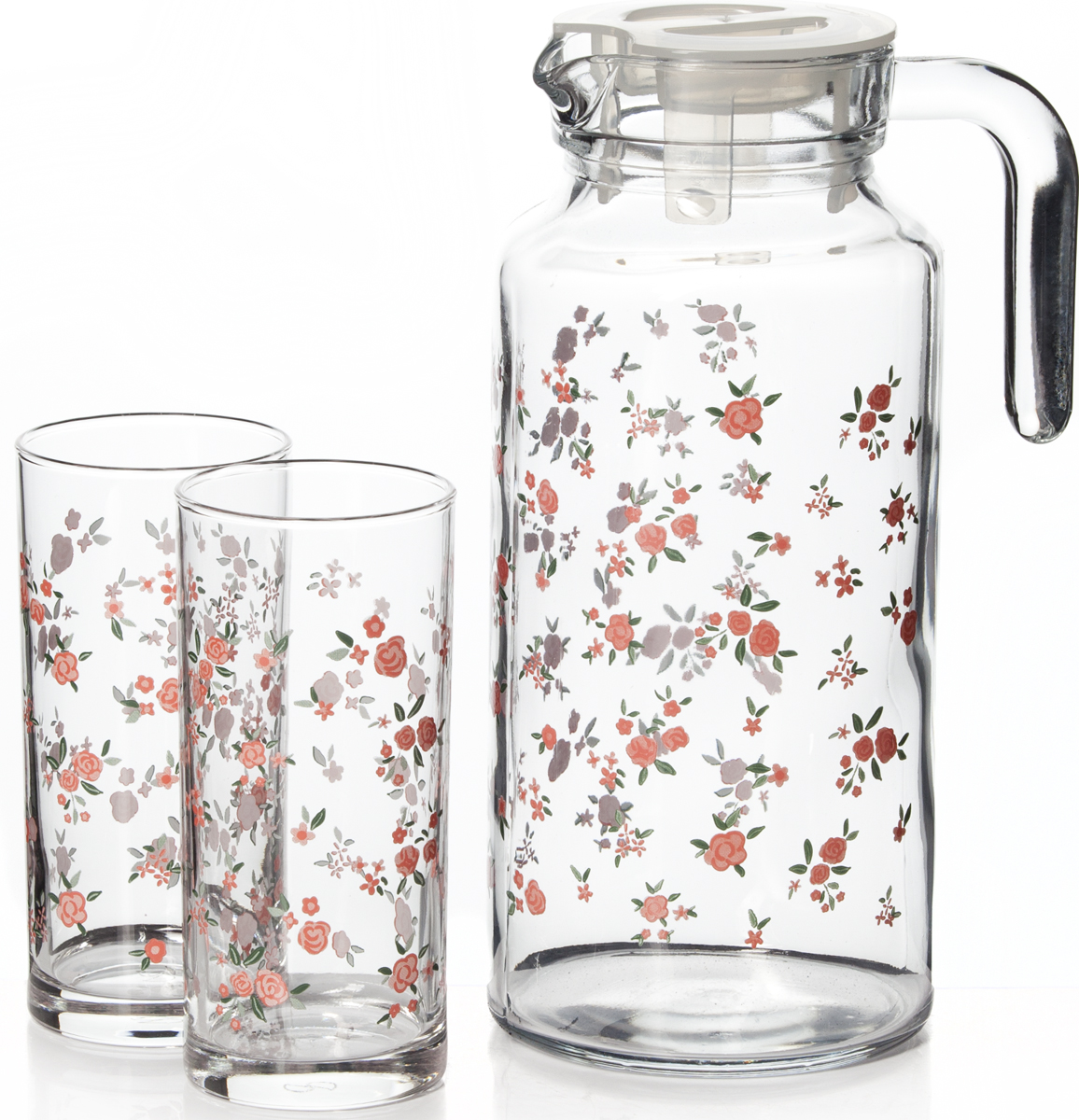 Набор питьевой Pasabahce Прованс, 5 предметов95895BSПитьевой набор Pasabahce Прованс состоит из 4 стаканов и кувшина. Изделия выполнены из высококачественного прочного стекла и декорированыцветочным рисунком. Набор прекрасно подходит для сока, воды, лимонада и других напитков. Изделия устойчивы к повреждениям и истиранию, в процессе эксплуатации не впитывают запахии сохраняют первоначальные краски. Можно мыть в посудомоечной машине.Объем кувшина: 1,3 л.Объем стакана: 290 мл.