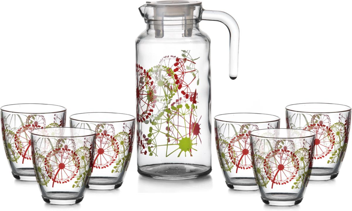 """Питьевой набор Pasabahce """"Фазенда"""" состоит из 6 стаканов и кувшина. Изделия выполнены из высококачественного прочного стекла и декорированы  изображением одуванчиков. Набор прекрасно подходит для сока, воды, лимонада и других  напитков.   Изделия устойчивы к повреждениям и истиранию, в процессе эксплуатации не впитывают запахи  и сохраняют первоначальные краски. Можно мыть в посудомоечной машине.  Объем кувшина: 1,3 л.  Объем стакана: 285 мл."""