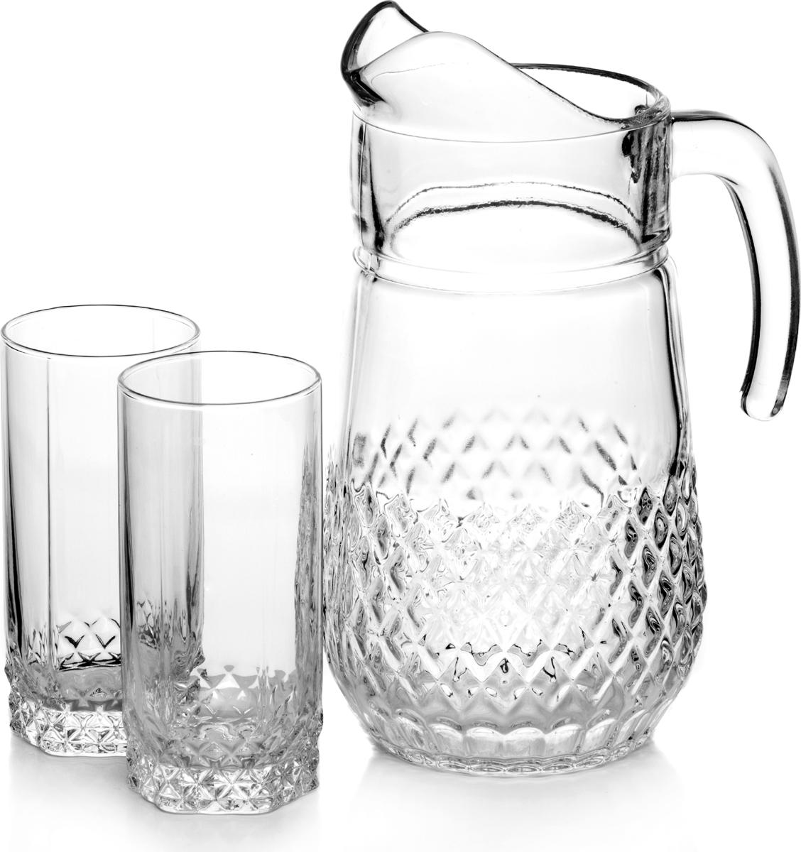 Набор питьевой Pasabahce Valse, 7 предметов97675BПитьевой набор Pasabahce Valse состоит из 6 стаканов и кувшина. Изделия выполнены из высококачественного прочного стекла и декорированырельефным рисунком. Набор прекрасно подходит для сока, воды, лимонада и других напитков. Изделия устойчивы к повреждениям и истиранию, в процессе эксплуатации не впитывают запахии сохраняют первоначальные краски. Можно мыть в посудомоечной машине.Объем кувшина: 1,34 л.Объем стакана: 300 мл.