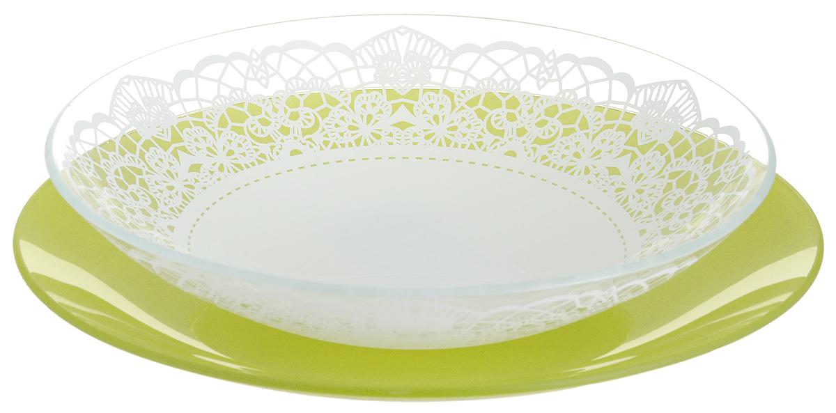 Набор тарелок глубокая NiNaGlass, цвет: зеленый, диаметр 25 см, 2 шт. 85-225-143псз85-225-143псзНабор тарелок NiNaGlass Кружево и Палитра выполнена из высококачественного стекла, декорирована под Вологодское кружево и подстановочная тарелка яркий насыщенный цвет. Набор идеален для подачи горячих блюд, сервировки праздничного стола, нарезок, салатов, овощей и фруктов. Он отлично подойдет как для повседневных, так и для торжественных случаев. Такой набор прекрасно впишется в интерьер вашей кухни и станет достойным дополнением к кухонному инвентарю.