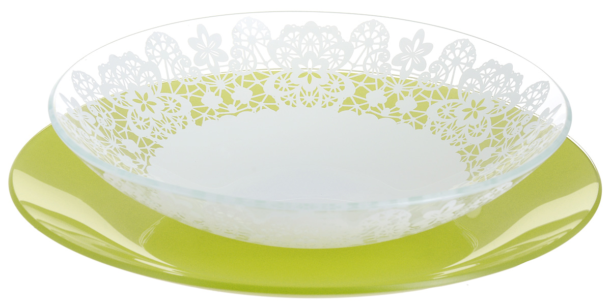 """Набор тарелок NiNaGlass """"Кружево"""" и """"Палитра"""" выполнена из высококачественного стекла, декорирована под Вологодское кружево и подстановочная тарелка яркий насыщенный цвет. Набор идеален для подачи горячих блюд, сервировки праздничного стола, нарезок, салатов, овощей и фруктов. Он отлично подойдет как для повседневных, так и для торжественных случаев. Такой набор прекрасно впишется в интерьер вашей кухни и станет достойным дополнением к кухонному инвентарю."""