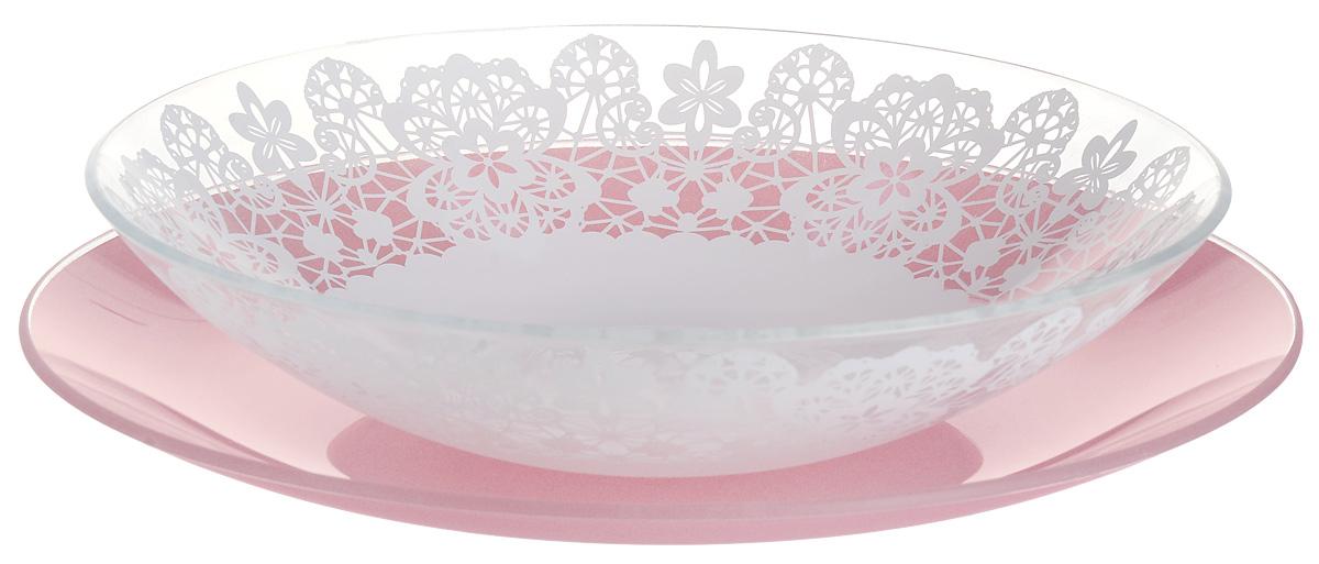 Набор тарелок глубокая NiNaGlass, цвет: розовый, диаметр 25 см, 2 шт. 85-225-142пср85-225-142псрНабор тарелок NiNaGlass Кружево и Палитра выполнена из высококачественного стекла, декорирована под Вологодское кружево и подстановочная тарелка яркий насыщенный цвет. Набор идеален для подачи горячих блюд, сервировки праздничного стола, нарезок, салатов, овощей и фруктов. Он отлично подойдет как для повседневных, так и для торжественных случаев. Такой набор прекрасно впишется в интерьер вашей кухни и станет достойным дополнением к кухонному инвентарю.