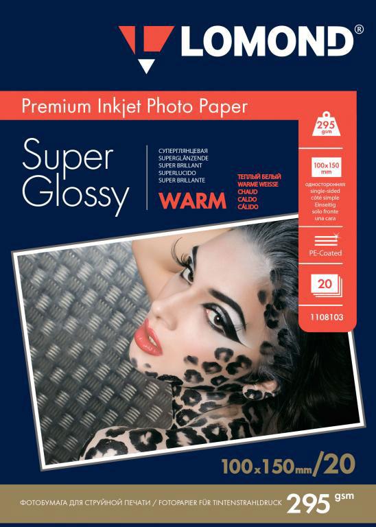 Lomond Super Glossy Warm 295/10x15/20л суперглянцевая тепло-белая