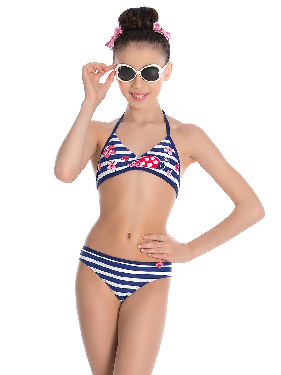 Купальник раздельный для девочки Arina Nirey, цвет: синий, белый, красный. GM 031807. Размер 116/122 купальник слитный для девочки arina nirey цвет синий белый красный gs 051808 размер 128 134
