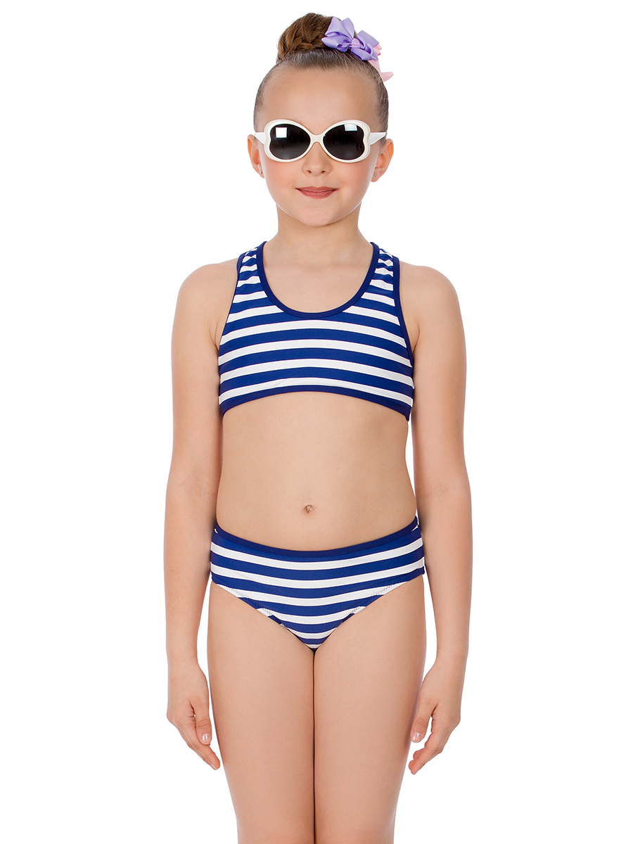 Купальник раздельный для девочки Arina Nirey, цвет: синий, белый. GR 031809. Размер 128/134 arina festivita купальник sabina