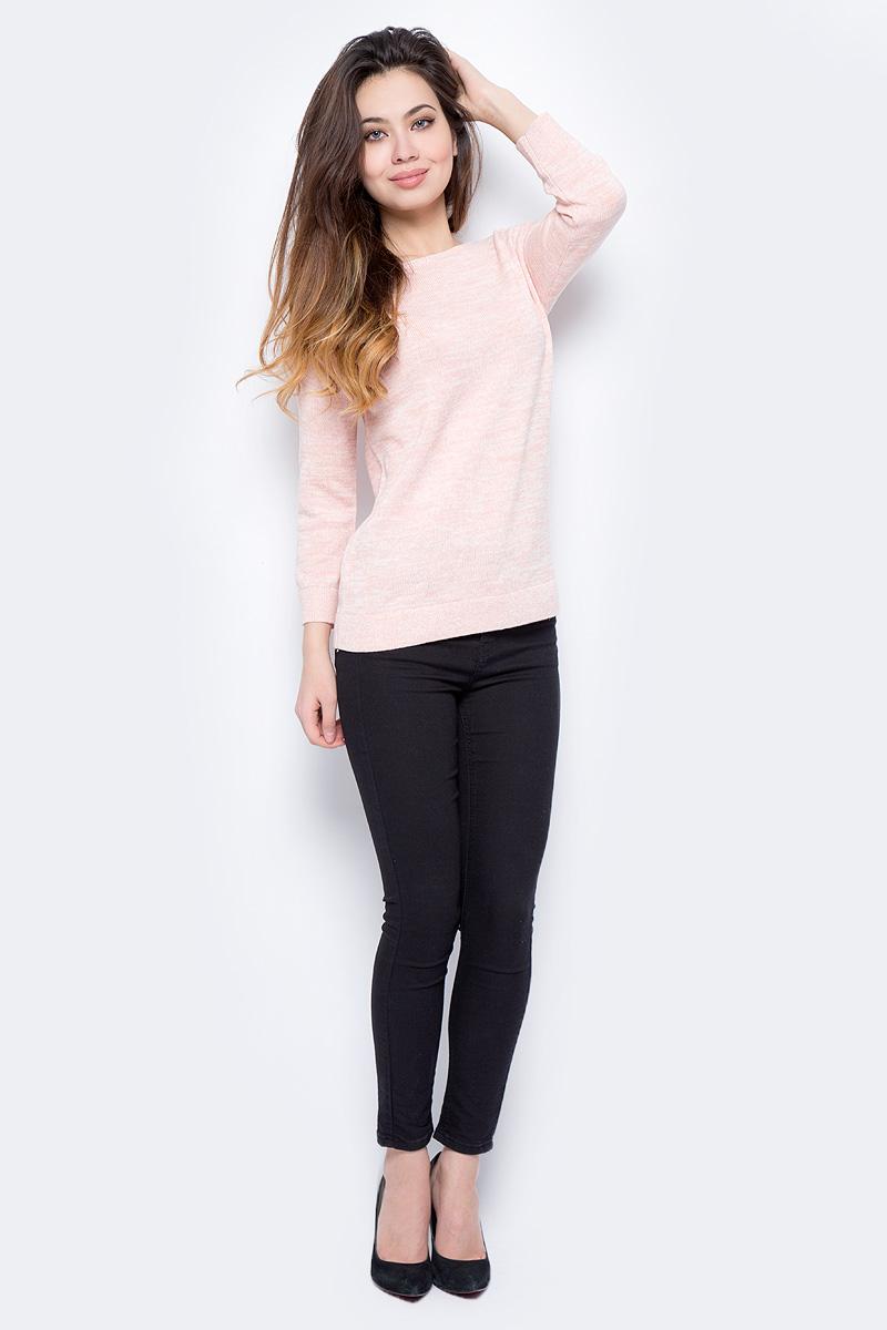 Джемпер женский Sela, цвет: телесно-розовый. JR-114/1306-8122. Размер XL (50)JR-114/1306-8122Джемпер женский Sela выполнен из хлопка и вискозы. Модель с круглым вырезом горловины и длинными рукавами.