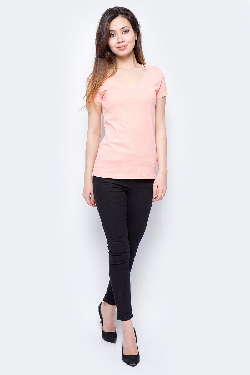 Футболка женская Sela, цвет: персиковый. Ts-111/337-8182. Размер XXS (40) футболка женская sela цвет белый ts 111 1227 7181 размер xxs 40