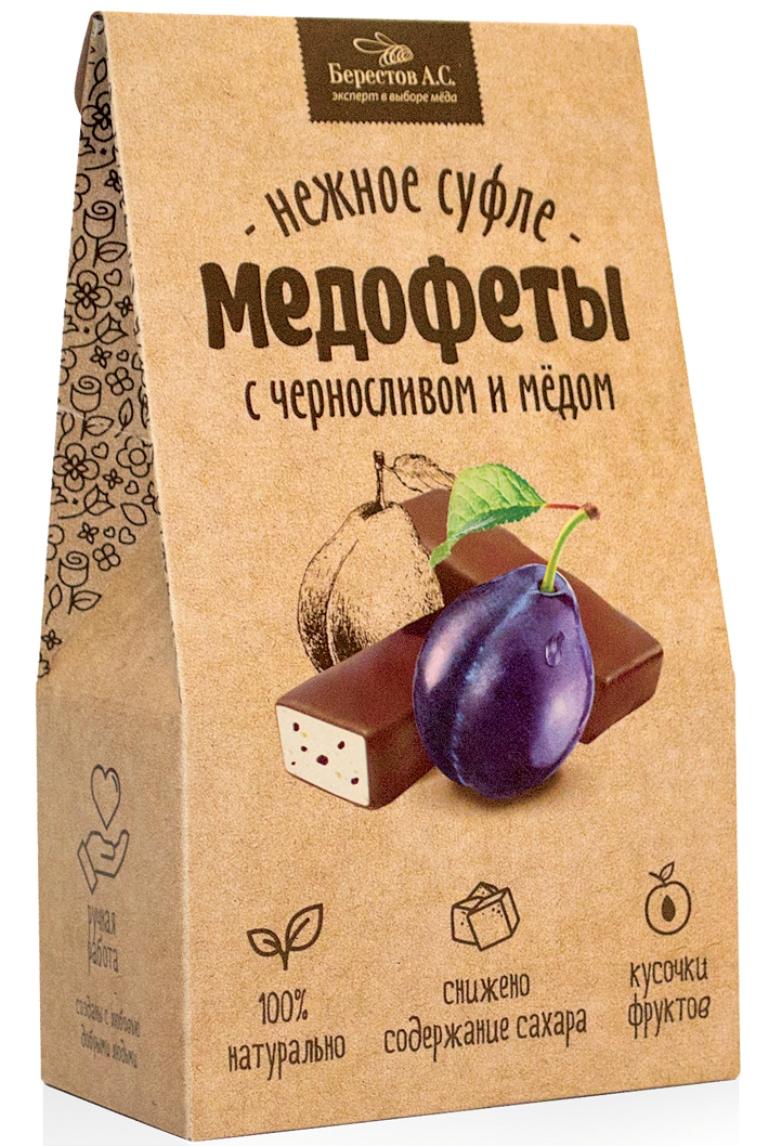 Берестов Медофеты суфле с черносливом и медом, 150 го0000007471Медофеты Берестов суфле - восхитительно вкусные, полезные, легкие, 100% натуральные сладости. Сладкое должно быть полезным - девиз, под которым создавались Медофеты суфле. Сладости часто вредны и калорийны, а полезные сладости зачастую не вкусны. Компания Берестов надеется, что им удалось создать бескомпромиссный продукт. Он низкокалориен В его составе только натуральные ингредиенты Ключевым элементом полезности медофет является мед, который вносится в продукт на этапе, когда его температура уже не поднимается выше 40 градусов, что позволяет сохранить все целебные свойства медаМедофеты очень вкусны. Берестов даже позаботились о их форме, которая, как оказалось, влияет на восприятие вкуса - в отличие от большинства суфле, Медофеты имеют в разрезе форму полусферы, которой удалось добиться, используя особую технологию формования взбитой массы. Уважаемые клиенты! Обращаем ваше внимание, что полный перечень состава продукта представлен на дополнительном изображении.Уважаемые клиенты! Обращаем ваше внимание на то, что упаковка может иметь несколько видов дизайна. Поставка осуществляется в зависимости от наличия на складе.