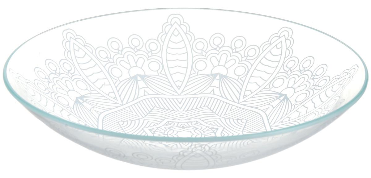 Тарелка глубокая NiNaGlass Кружево 9, цвет: белый, диаметр 23 см85-225-149пб9Тарелка NiNaGlass Кружево выполнена из высококачественного стекла и декорирована под Вологодское кружево. Тарелка идеальна для подачи вторых блюд, а также сервировки закусок, нарезок, салатов, овощей и фруктов. Она отлично подойдет как для повседневных, так и для торжественных случаев. Такая тарелка прекрасно впишется в интерьер вашей кухни и станет достойным дополнением к кухонному инвентарю.