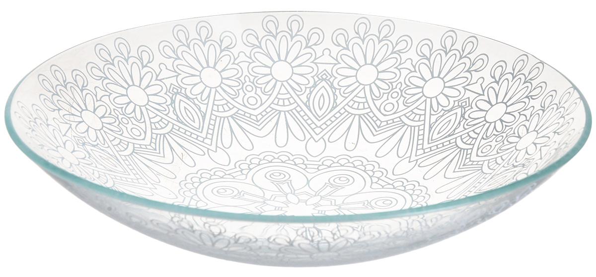 Тарелка глубокая NiNaGlass Кружево 6, цвет: белый, диаметр 23 см85-225-146пбТарелка NiNaGlass Кружево выполнена из высококачественного стекла и декорирована под Вологодское кружево. Тарелка идеальна для подачи вторых блюд, а также сервировки закусок, нарезок, салатов, овощей и фруктов. Она отлично подойдет как для повседневных, так и для торжественных случаев. Такая тарелка прекрасно впишется в интерьер вашей кухни и станет достойным дополнением к кухонному инвентарю.