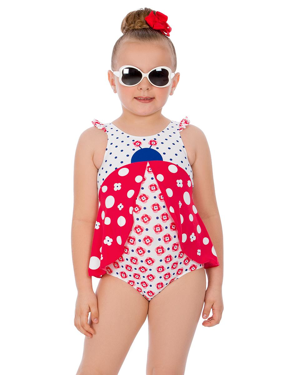 Купальник слитный для девочки Arina Nirey, цвет: красный, белый. GS 031802. Размер 80/86 купальник слитный для девочки arina festivita цвет разноцветный yi 021806 af размер 36 42