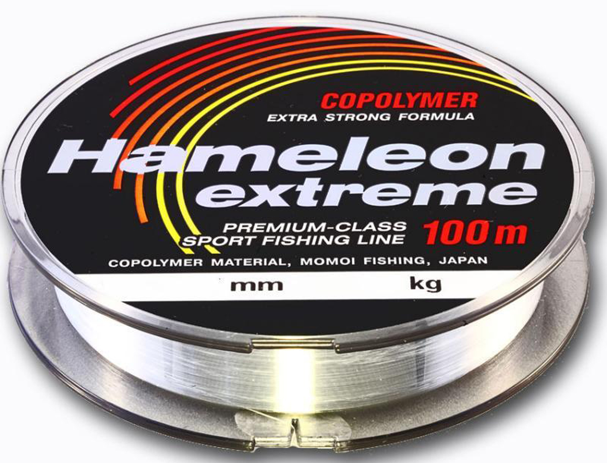 Леска Momoi Fishing Hameleon Extreme, 0,45 мм, 19 кг, 100 м4627Всесезонная рыболовная леска. Относится к типу спортивных лесок.Благодаря антистатическому скользкому покрытию идеально подходит как для спининга, так и для всех видов поплавочных удилищ с кольцами. Является одной из самых востребованных сополимерных лесок из-за отсутствия эффекта памяти и высокой узловой прочности.