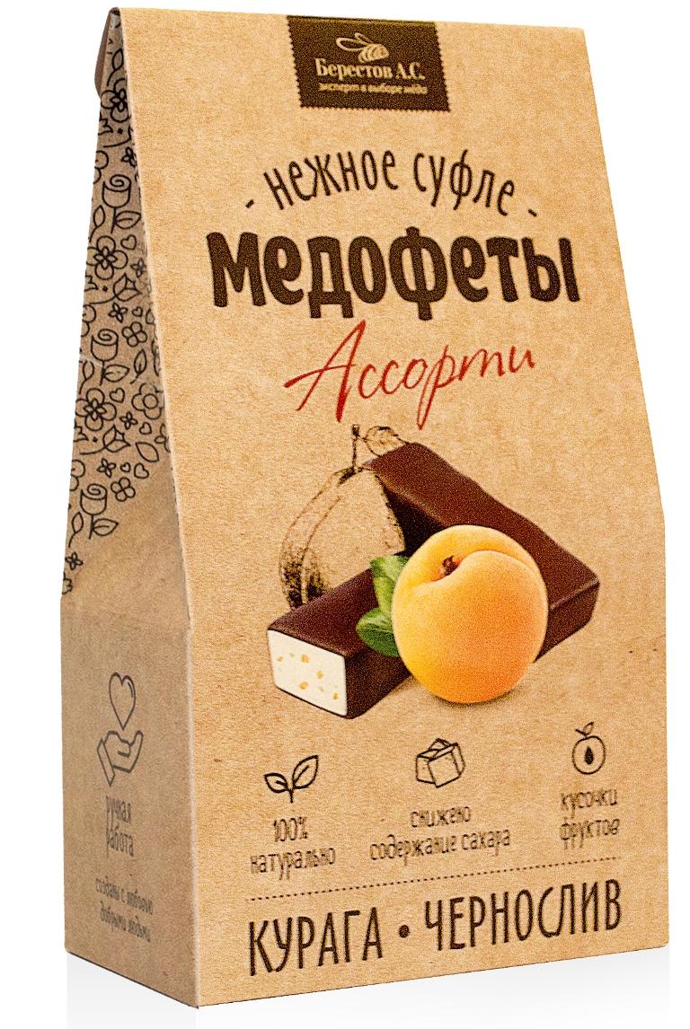 Берестов Медофеты суфле Ассорти с курагой и черносливом, 350 го0000007444Медофеты Берестов суфле - восхитительно вкусные, полезные, легкие, 100% натуральные сладости. Сладкое должно быть полезным - девиз, под которым создавались Медофеты суфле. Сладости часто вредны и калорийны, а полезные сладости зачастую не вкусны. Мы надеемся нам удалось создать бескомпромиссный продукт. Он низкокалориен В его составе только натуральные ингредиентыКлючевым элементом полезности медофет является мед, который вносится в продукт на этапе, когда его температура уже не поднимается выше 40 градусов, что позволяет сохранить все целебные свойства медаМедофеты очень вкусны. Мы даже позаботились о их форме, которая, как оказалось, влияет на восприятие вкуса - в отличие от большинства суфле, Медофеты имеют в разрезе форму полусферы, которой удалось добиться, используя особую технологию формования взбитой массы. Пробуйте, наслаждайтесь и будьте здоровы! Команда Берестов АС.Уважаемые клиенты! Обращаем ваше внимание на то, что упаковка может иметь несколько видов дизайна. Поставка осуществляется в зависимости от наличия на складе.