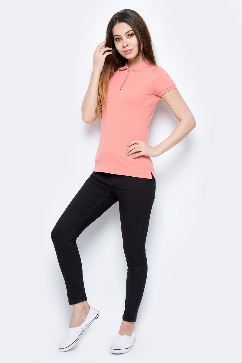 Поло женское Sela, цвет: коралловый. Tsp-111/339-8182. Размер XL (50)Tsp-111/339-8182