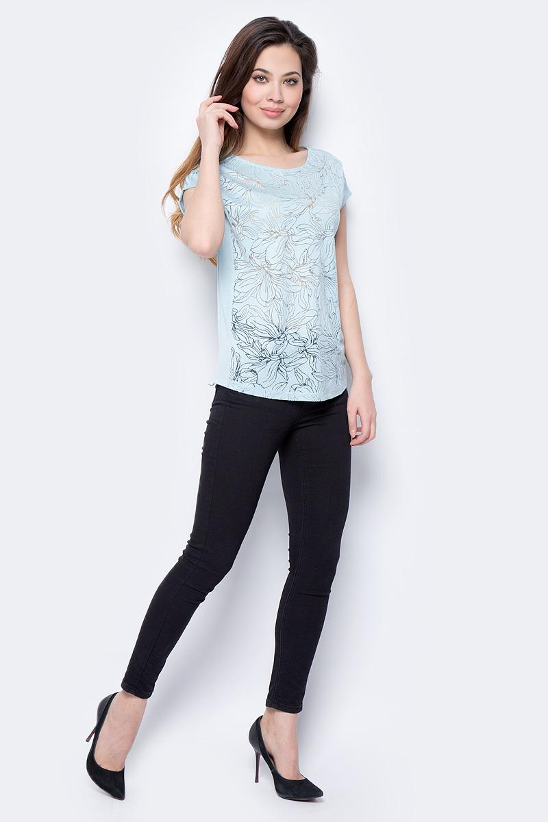 Футболка женская Sela, цвет: голубой. Ts-111/286-8112. Размер XXL (52) футболка с полной запечаткой женская printio весенняя роза