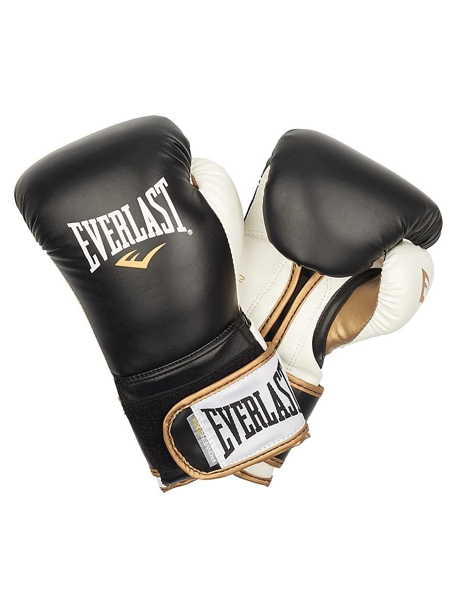 Перчатки тренировочные Everlast Powerlock, цвет: черный, белый. Вес 16 унций перчатки тренировочные everlast mma grappling цвет синий белый размер l xl