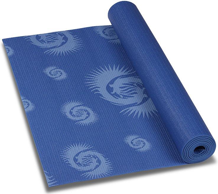 Коврик для йоги и фитнеса Indigo, с рисунком, цвет: синий, 173 х 61 х 0,3 см коврик гимнастический kettler цвет голубой 173 х 61 см