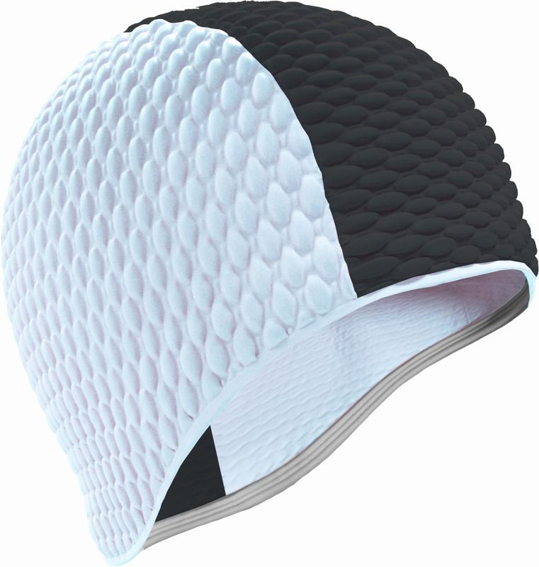 Шапочка для плавания Indigo Bubble, мужская, цвет: черный, белый очки для плавания indigo g1800 1808 антиф силикон фиолетовый
