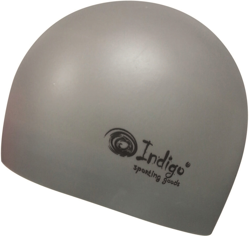 Шапочка для плавания Indigo Silicone. 3D форма, цвет: серый очки для плавания indigo g1800 1808 антиф силикон фиолетовый