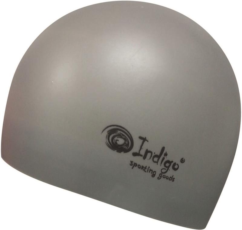 Шапочка для плавания Indigo Silicone. 3D форма, цвет: серый