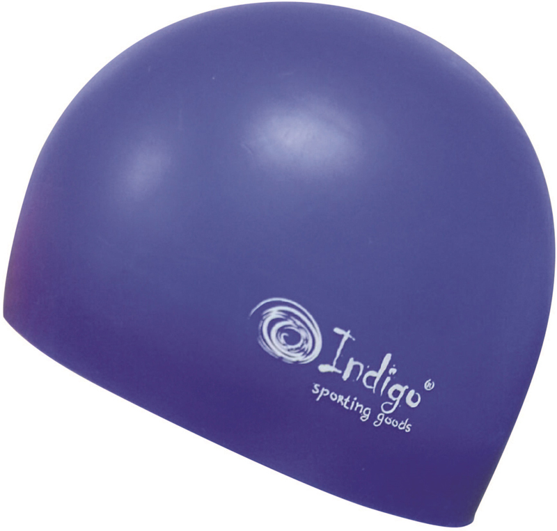 Шапочка для плавания Indigo Silicone. 3D форма, цвет: синий