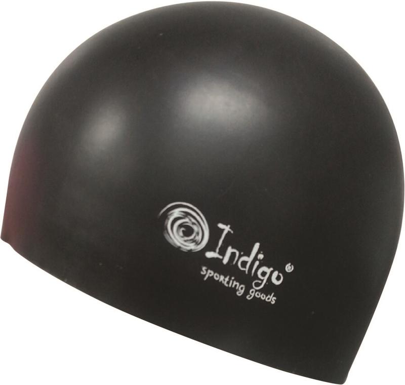 Шапочка для плавания Indigo Silicone. 3D форма, цвет: черный