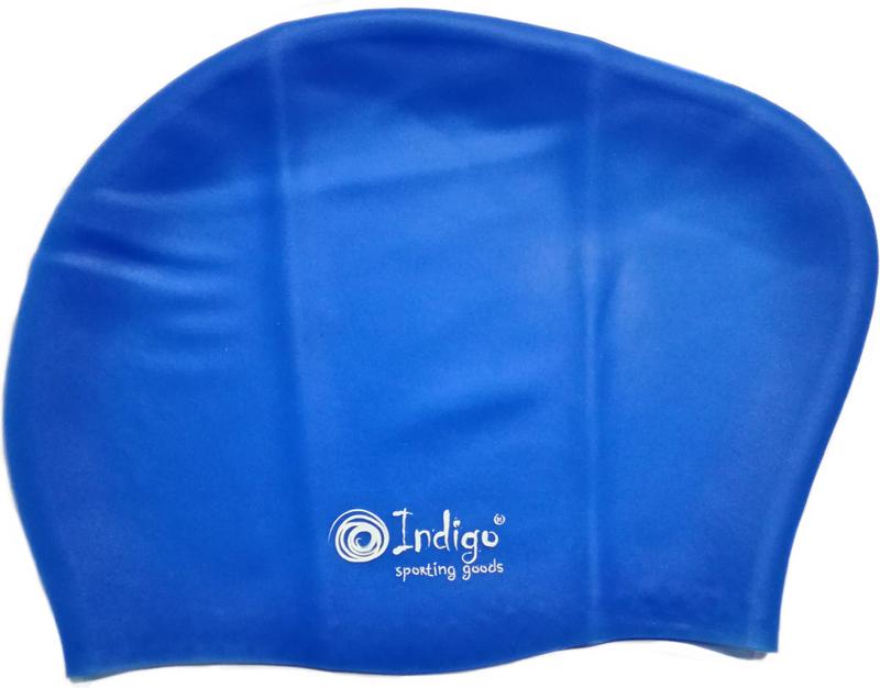 Шапочка для плавания Indigo Silicone, для длинных волос, цвет: синий00017762