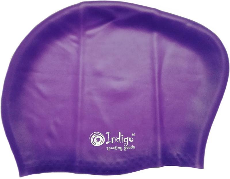 Шапочка для плавания Indigo Silicone, для длинных волос, цвет: фиолетовый очки для плавания indigo g1800 1808 антиф силикон фиолетовый
