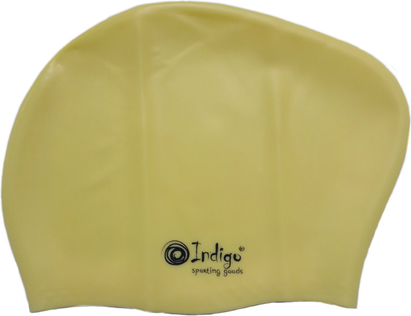 Шапочка для плавания Indigo Silicone, для длинных волос, цвет: желтый очки для плавания indigo g1800 1808 антиф силикон фиолетовый