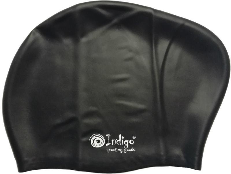 Шапочка для плавания Indigo Silicone, для длинных волос, цвет: черный очки для плавания indigo g1800 1808 антиф силикон фиолетовый